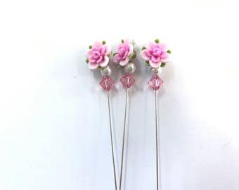 Pink Camillia and Pearls Counting Pin-Lapel Pin-Scarf Pin