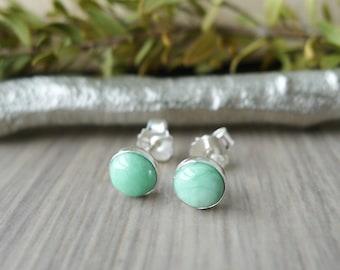 Variscite Studs, Sterling Silver, Variscite Earrings, Smooth Variscite, Genuine Variscite, Simple Earrings, Seafoam Green, Pastel Green