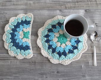 Hand Crocheted Potholders in Natural Cotton - Handmade Kitchen Accessories Sun and Moon in Blue Rainbow Color - Gift Idea for Mom's Day