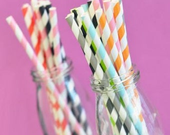 Striped Paper Drinking Straws-Milk Bottle Straws-Colored Straws-Straws for Drinks-(set of 25)