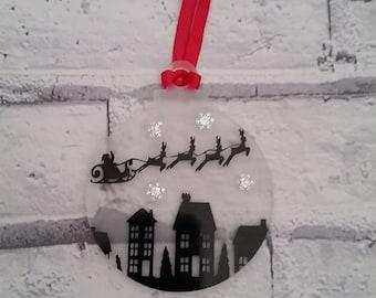 Santa reindeer bauble/reindeer ornament/Christmas tree decoration/Christmas ornament/sparkly bauble/Christmas scene tree decoration