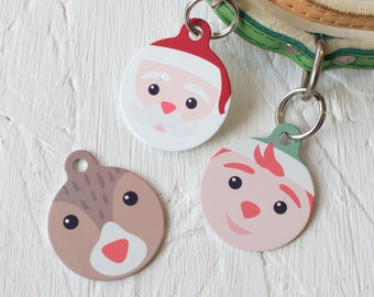Santa and his workshop friends Pet Id Tag – personalised elf reindeer man name tag – gifts for dogs – personalized dog ID tag - P148