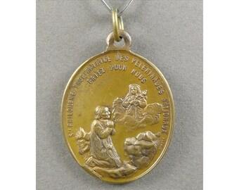 French, Antique Religious Large Pendant. Saint Philomena. Medal.