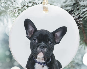 Ceramic Pet Photo Christmas Bauble -  Christmas Tree Decoration -  Displays photo of any pet Cat, Dog, Rabbit etc - Colour or Black & White