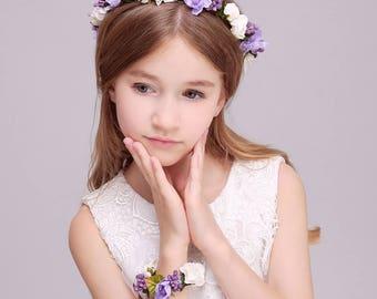 Purple White 2 PC/Set Girl Flower Wreath Crown Floral Headband Garland Wristband Wedding