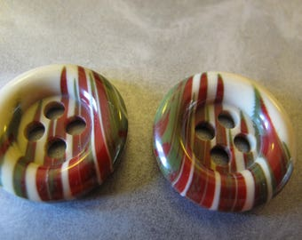 2 multi coloured vintage buttons 1960's most unusual    26mm diameter 130517/18