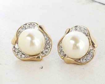 Vintage 1970s Faux Cream Pearl Post Earrings Two Tone Setting with Austrian Crystals Made in USA #E3999
