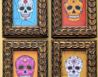 Day of the Dead Mini Framed Prints (Set of Four )