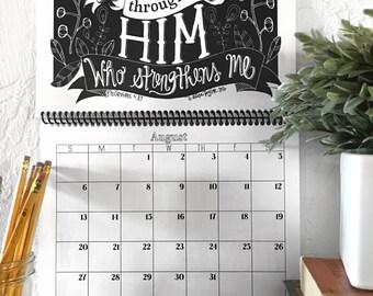 2017 Bible Verse Calendar - Desk Calendar - Christian Gifts - Calendar 2017 - Bible Verse Prints