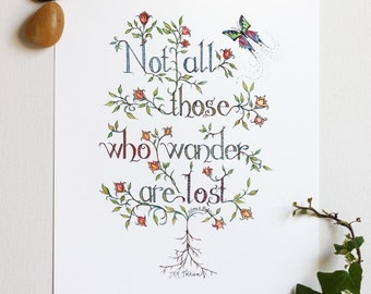 Not All Who Wander Hand Lettered Art Print