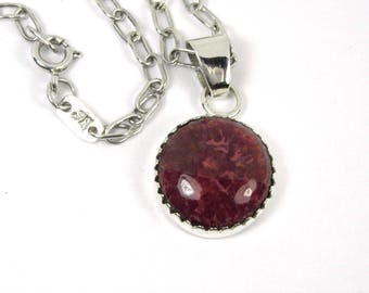 Handmade Sterling Silver And Fossilized Red Horn Coral Pendant - 1055