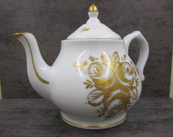 White porcelain made in France BB hand painted teapot