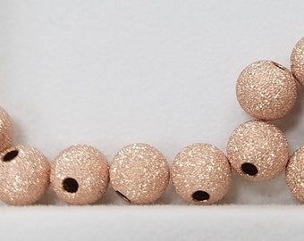 20 Pieces - 14K Rose Gold Filled 3mm or 4mm Round Stardust Beads, USA