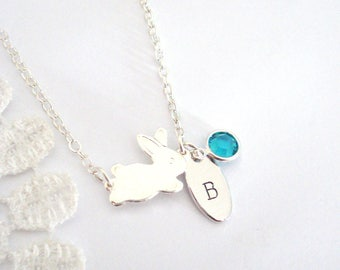Dainty Bunny Necklace, Small Charm Necklace, Personalised Necklace, Hand-Stamped Necklace, Gift for Her, Rabbit Jewelry