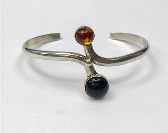 Amber Onyx and  Sterling Silver Cuff Bracelet