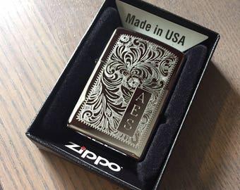 Personalized Zippo Lighter, Venetian High Polish Chrome Lighter, Groomsmen Gifts, Father's day,, Birthday, Graduation, Anniversary Gift Z352