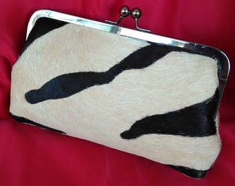 Black tan Leather hair on zebra evening Wedding Clutch BBsCustomClutches