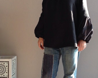 Womens linen blouse / Loose long-sleeve top / Black blouse with sheer puffy sleeves / Made to order / Sizes XS to XXL