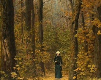 Woman Walking on a Forest Path - Counted cross stitch pattern in PDF format
