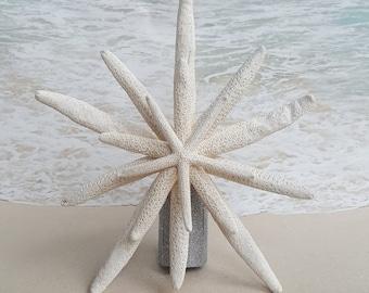 Starfish Tree Topper- Natural, Gold or Silver Glitter - Rustic Coastal  Nautical Beach Christmas
