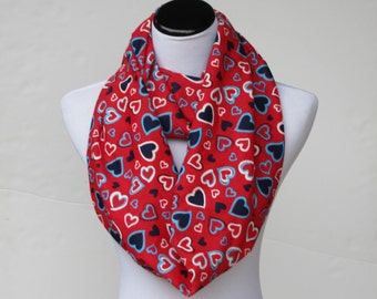 Red hearts scarf, Valentines day infinity scarf, red and navy blue hearts, loop scarf, circle scarf Valentine day gift for women, teen girls