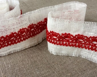 Linen and lace ribbon, handmade natural white rustic fabric tape 2 meters long 6cm wide