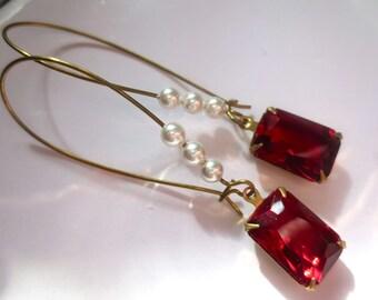 Art Nouveau earrings Art Deco earrings vintage red glass stones and Swarovski crystal pearls long drop long 1920s Edwardian style