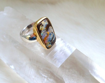 Australian Boulder Opal Sterling Silver Ring with 24-karat Yellow Gold