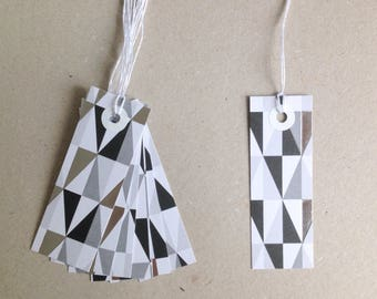 7 gift tags paper tags scraps 3x8,5 cm design graphic black white silver