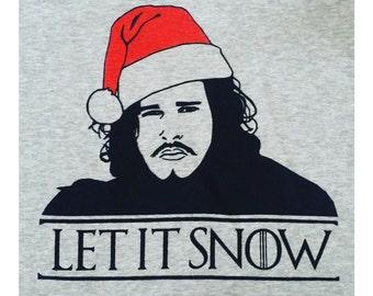 Jon Snow Game of Thrones Christmas Handmade Fairtrade Screenprinted Sweatshirt Sweater Jumper