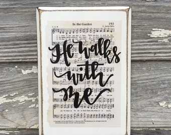 In the Garden - Hymn Board - hand lettered wood sign