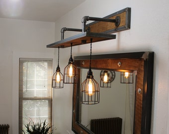 Rustic Industrial Light - Steel and Barn Wood Vanity Light (Cage Shade) w/Bulbs  #L1303