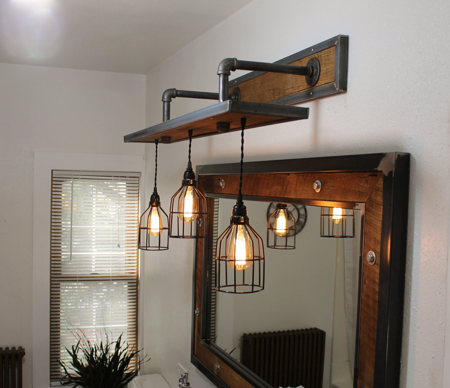 Rustic Industrial Light Steel And Barn Wood Vanity Light: Rustic Industrial Light Steel And Barn Wood Vanity Light