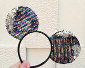 Silver Disco Mermaid Mouse Ears