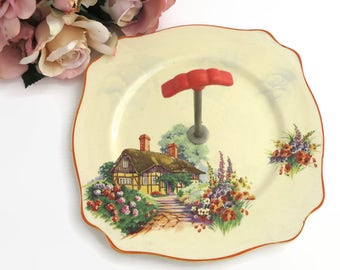 Cake plate / tray with handle and image of English thatched cottage in pretty garden, Royal Staffordshire, Honeyglaze, circa 1940s