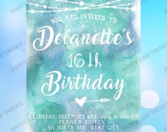 Watercolor Custom Birthday Invitation
