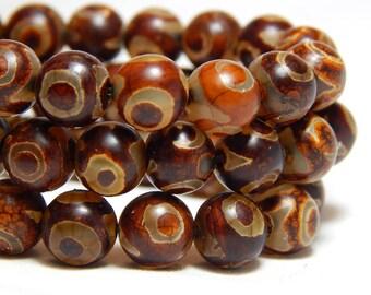 8mm Tibetan Agate, Tibetan Dzi Agate, Brown Agate, 8mm Tibetan Gemstones, 8mm Agate, , 8mm Gemstones, Brown Beads, B-33C