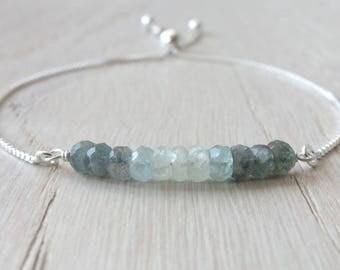 Aquamarine bracelet Gemstone bracelet Yoga bracelet Silver aquamarine bracelet Aquamarine jewelry Moss Aquamarine Bracelet March Birthstone