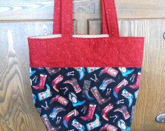 Large Lined Tote Bag with Cowboy/Cowgirl Boots Print