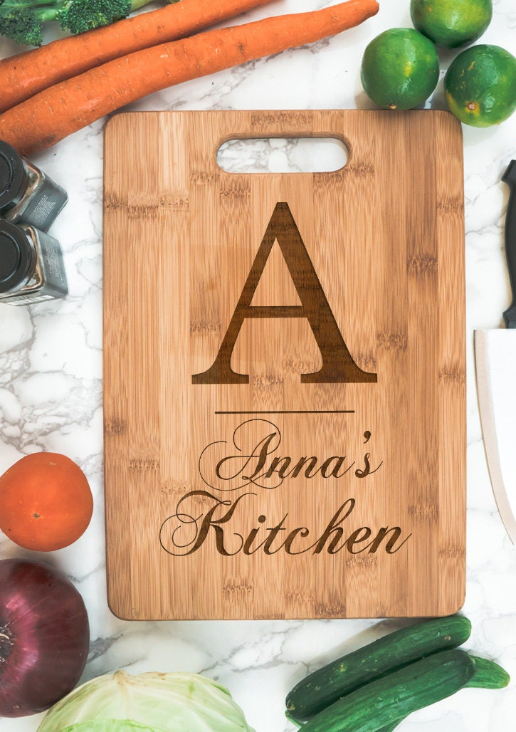 Kitchen Personalized Bamboo Cutting Board Initial Name Housewarming Gift Personalized