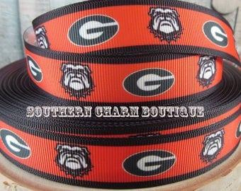 "3 yards of 7/8"" Georgia Bulldogs grosgrain ribbon"