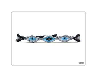 Macrame bracelet with 5 eyes - Black, White and Light Blue / BEFB05