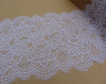 1yard snow white lace fabric, stretch Lace trimming,pure white French Chantilly Lace ,Exquisite Eyelash Lace Trim,Wedding lace fabric