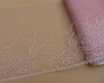 Lace Trim, PINK 7.8 inch wide, For Scrapbook, Home Decor, Apparel, Accessories, Victorian & Romantic Crafts