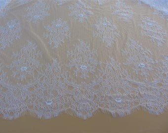 snow white Chantilly Lace by yard Fabric-110cm wide, pure white Eyelash Lace Trim, Wedding Table Decor,  Floral lace veil
