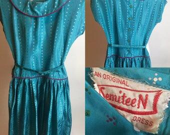 Xs 1950s SemiTeen Aqua Dropwaist Party Dress