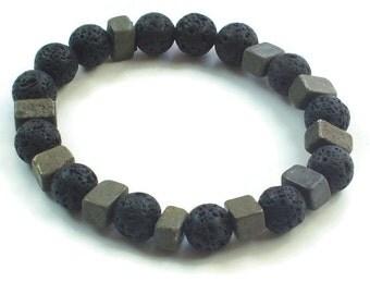 Lava Stone diffuser Bracelet, Lava Bead Bracelet, Stackable Bracelet, Unisex Pyrite Bracelet, Pyrite  stone, Mens bracelet, Mens jewelry