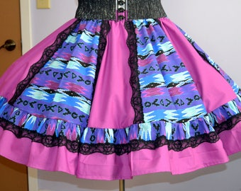 Square dance skirt medium Indian print