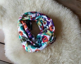 Bright Feathers Youth Infinity Scarf, Eternity Scarf, Kid Scarf, Circle Scarf, Loop Scarf, Feather Scarf