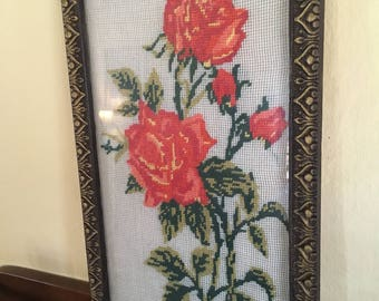 Vintage cross stitch rose. Hand Embroidered Wall Hanging. Framed Art. Crewel Work. Embroidered Roses. Crewel Embroidery. Crewel Wall Hanging